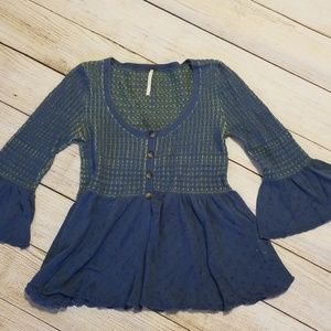 Free People Blue and Green Knit Top